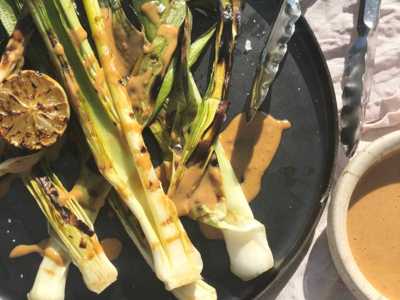 BBQ'd Leeks with Curried Peanut Butter Dressing