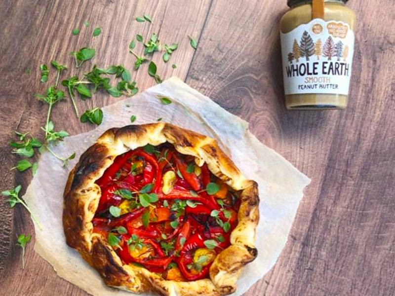 Red Pepper and Rainbow Tomato Peanut Butter Galette