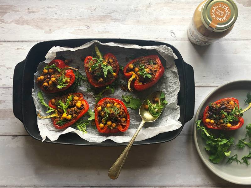 Spicy Stuffed Chickpea & Peanut Butter Red Peppers